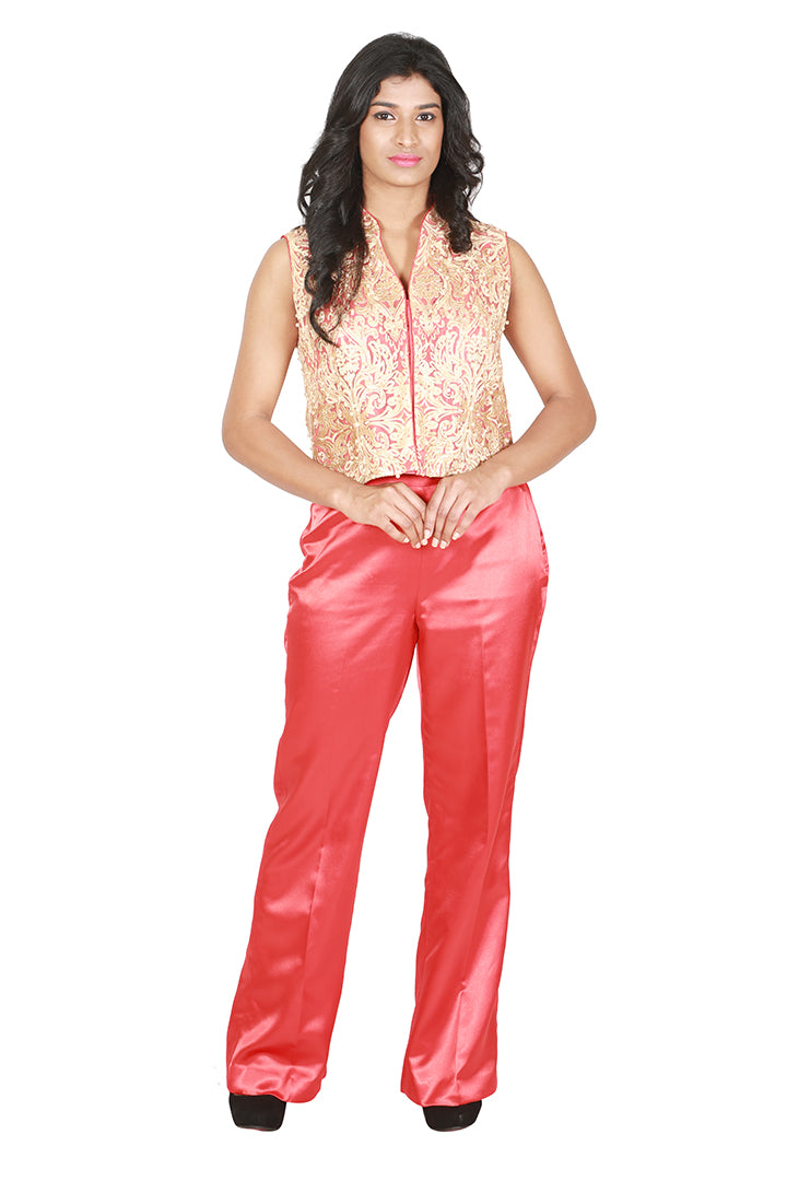 Red and gold sleeveless jacket with red satin trousers