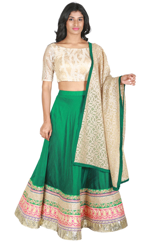 Green raw silk lengha with lace blouse