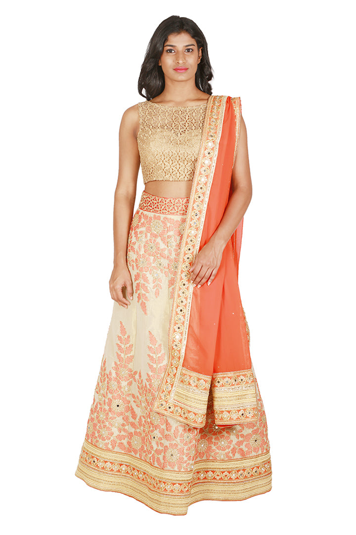 Orange and gold lengha set
