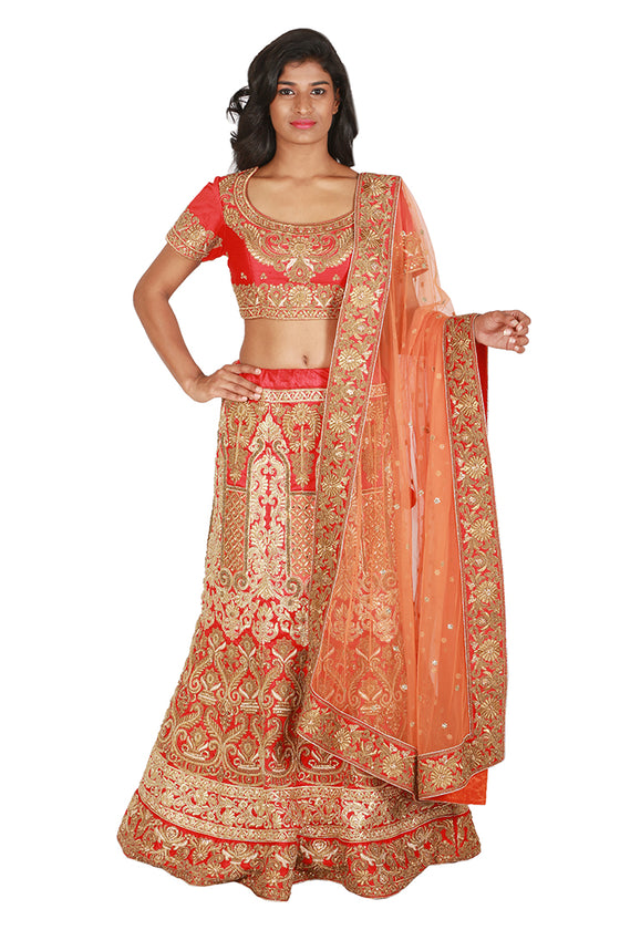 Red and gold lengha