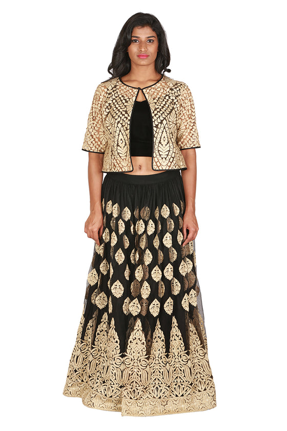 Black and gold lengha with cropped gold jacket