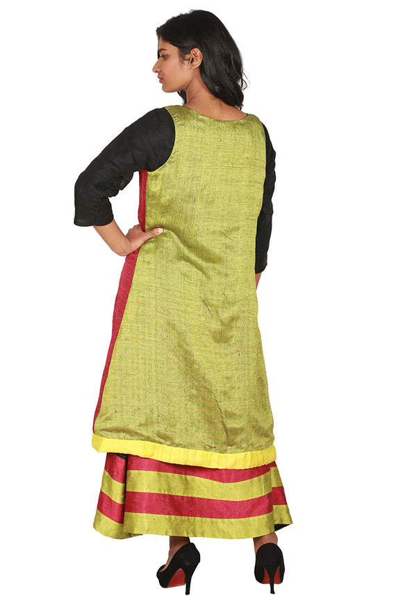 Black linen kurta with sleeveless jacket