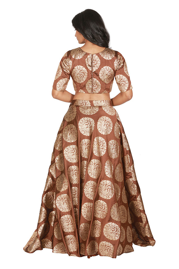 Brown and gold lengha