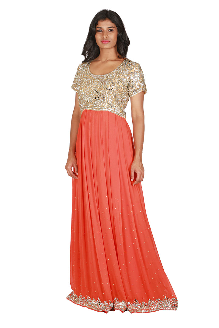 Orange and mirror work anarkali