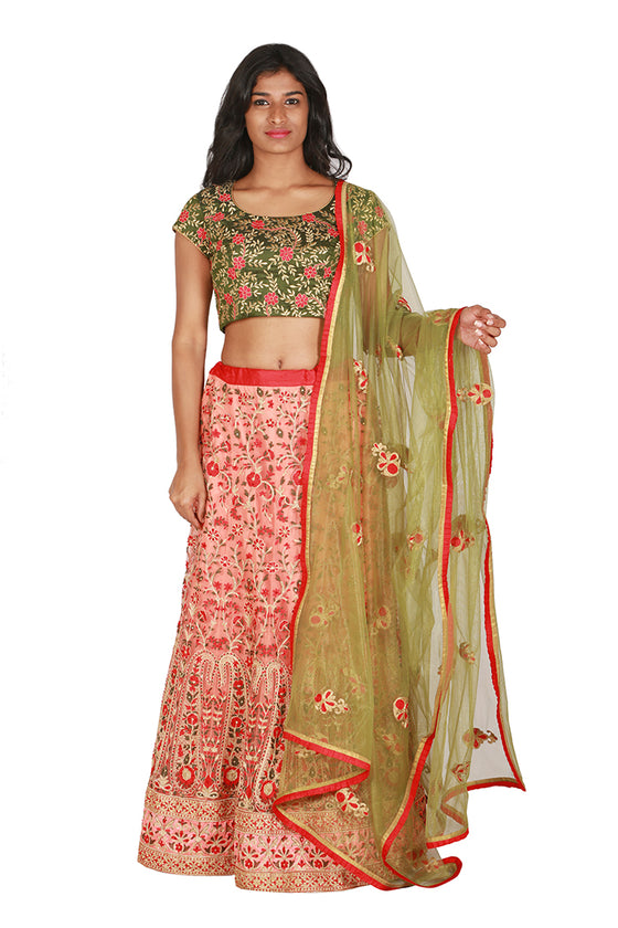 Olive green and pink lengha set