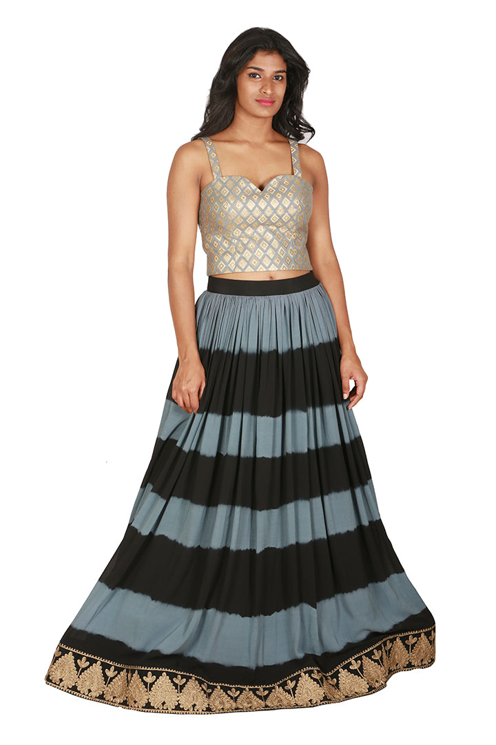 b8de7cce23365 Striped lengha with brocade blouse and asymmetrical cape - THE ATTIC ...