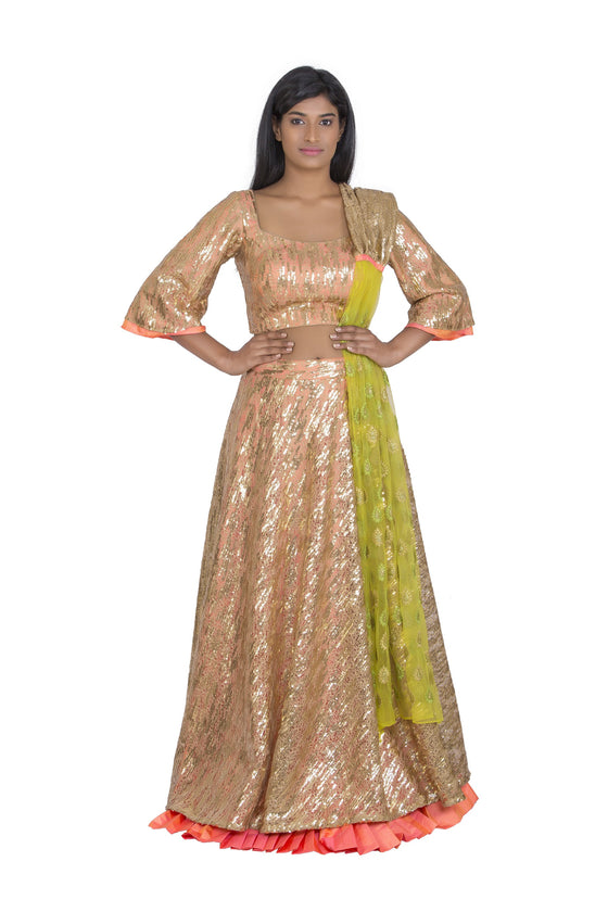 Gold and peach lengha
