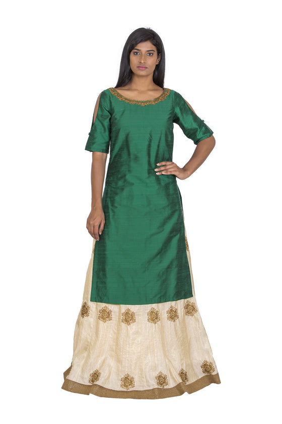 Green raw silk kurta