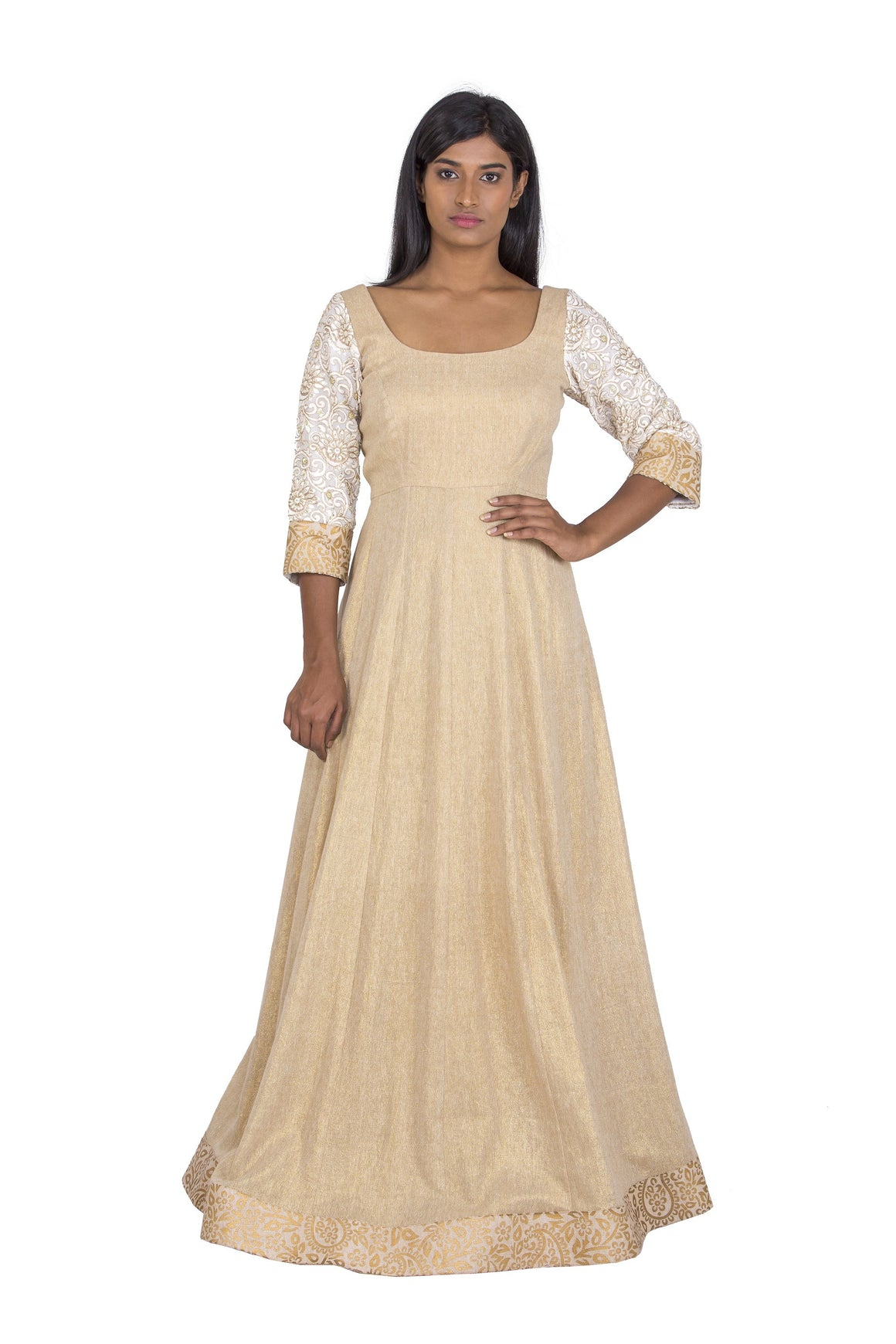 Beige and cream anarkali dress
