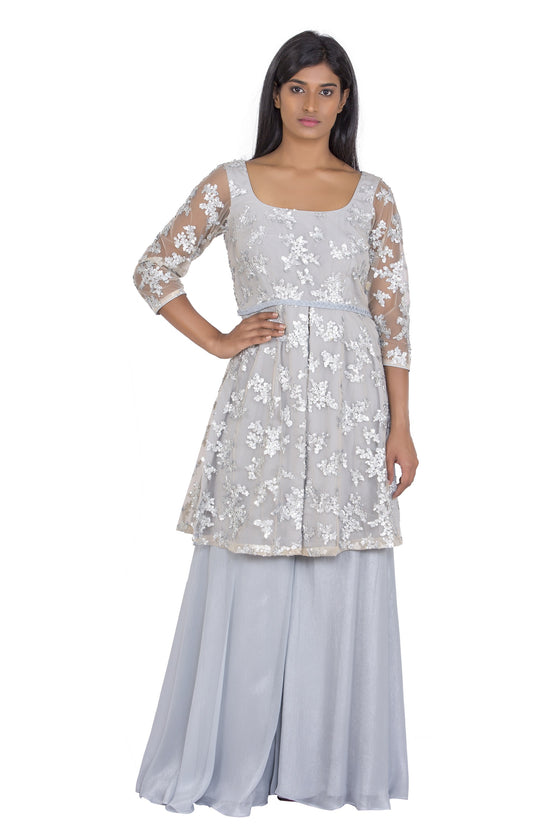 Grey sequin motif kurta with grey palazzo pants