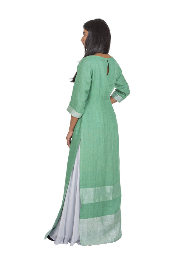 Green linen long kurta