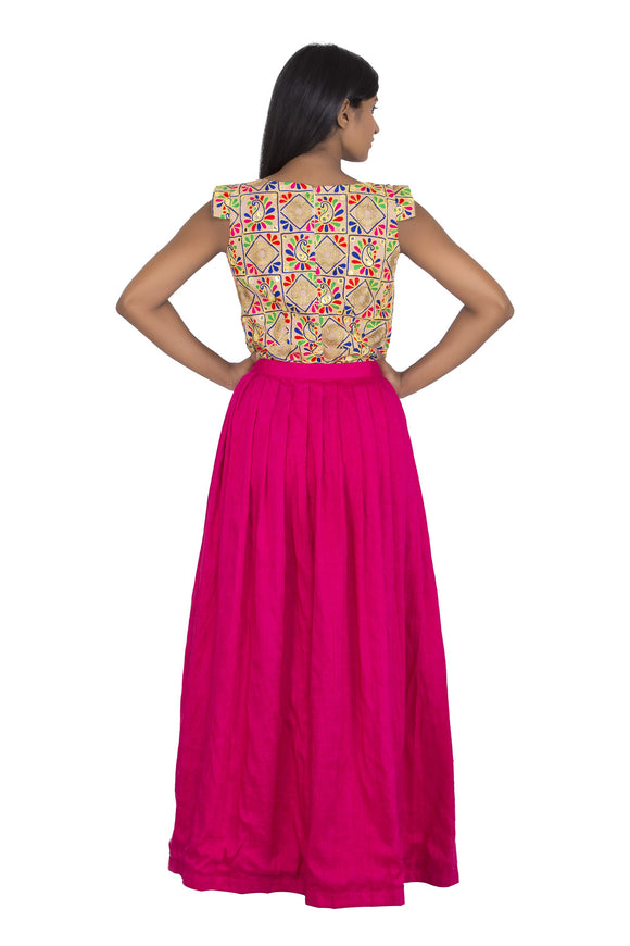 Mirror work short dress with pink raw silk wrap skirt