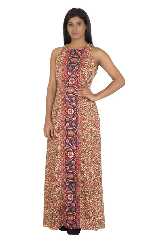 Printed pashmina silk dress