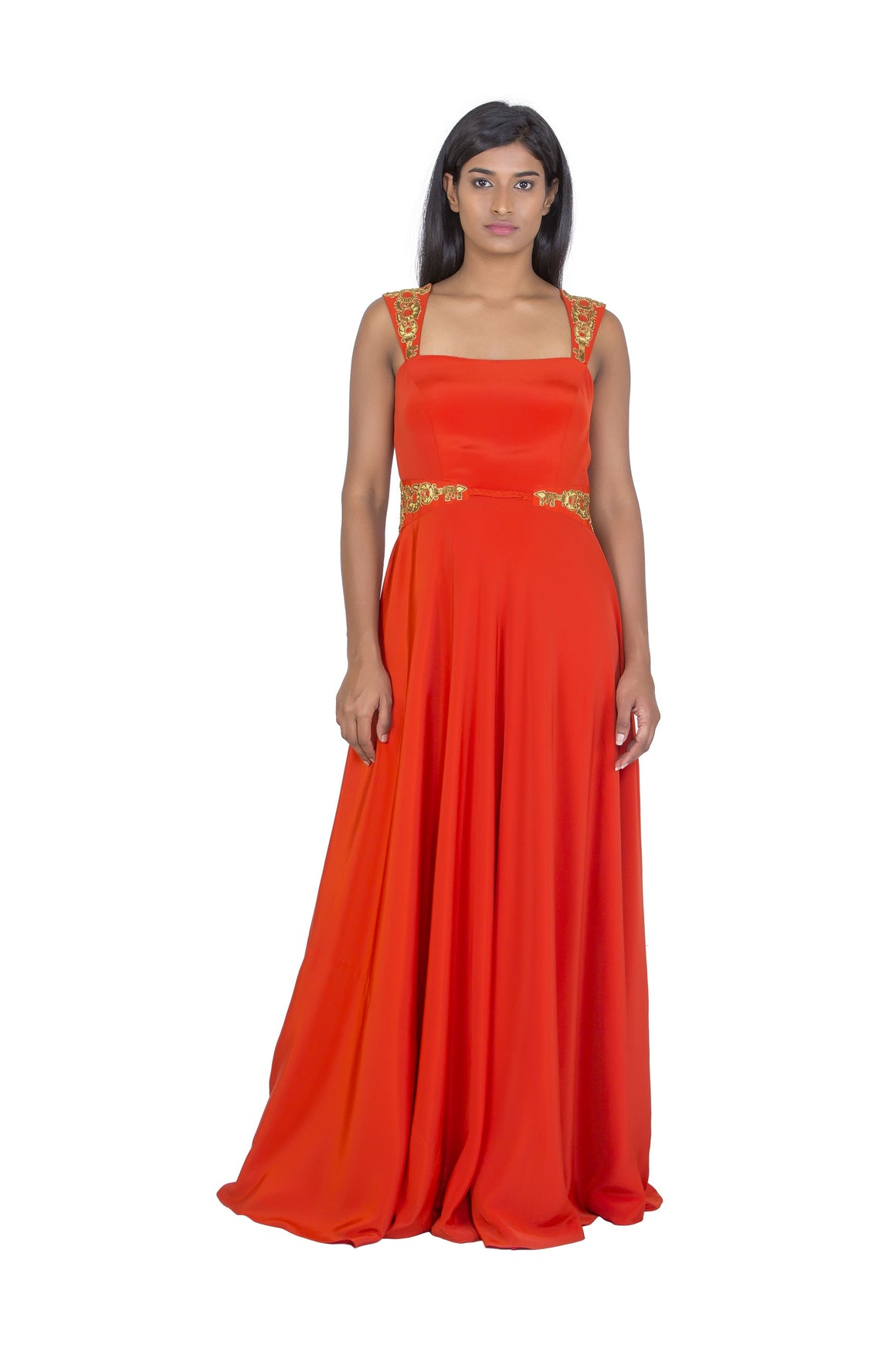 Orange full length gown