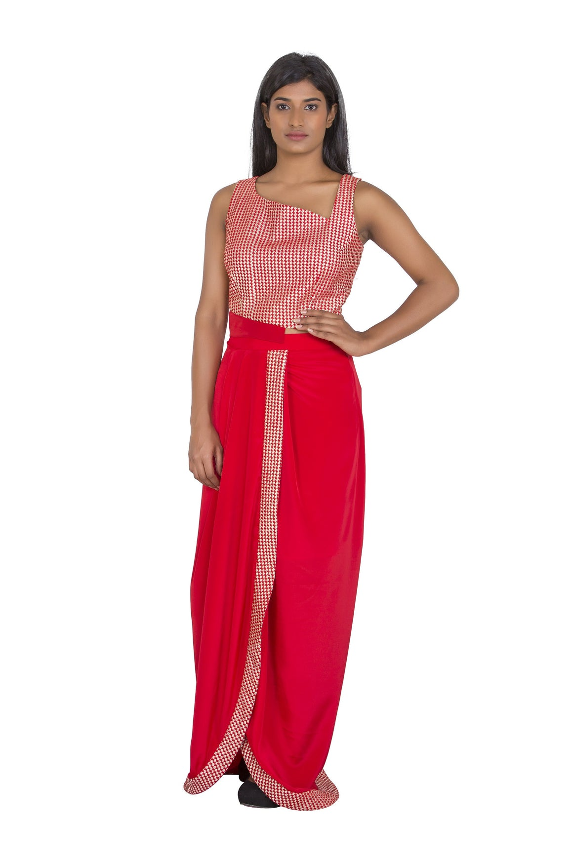Red cropped blouse with dhoti skirt