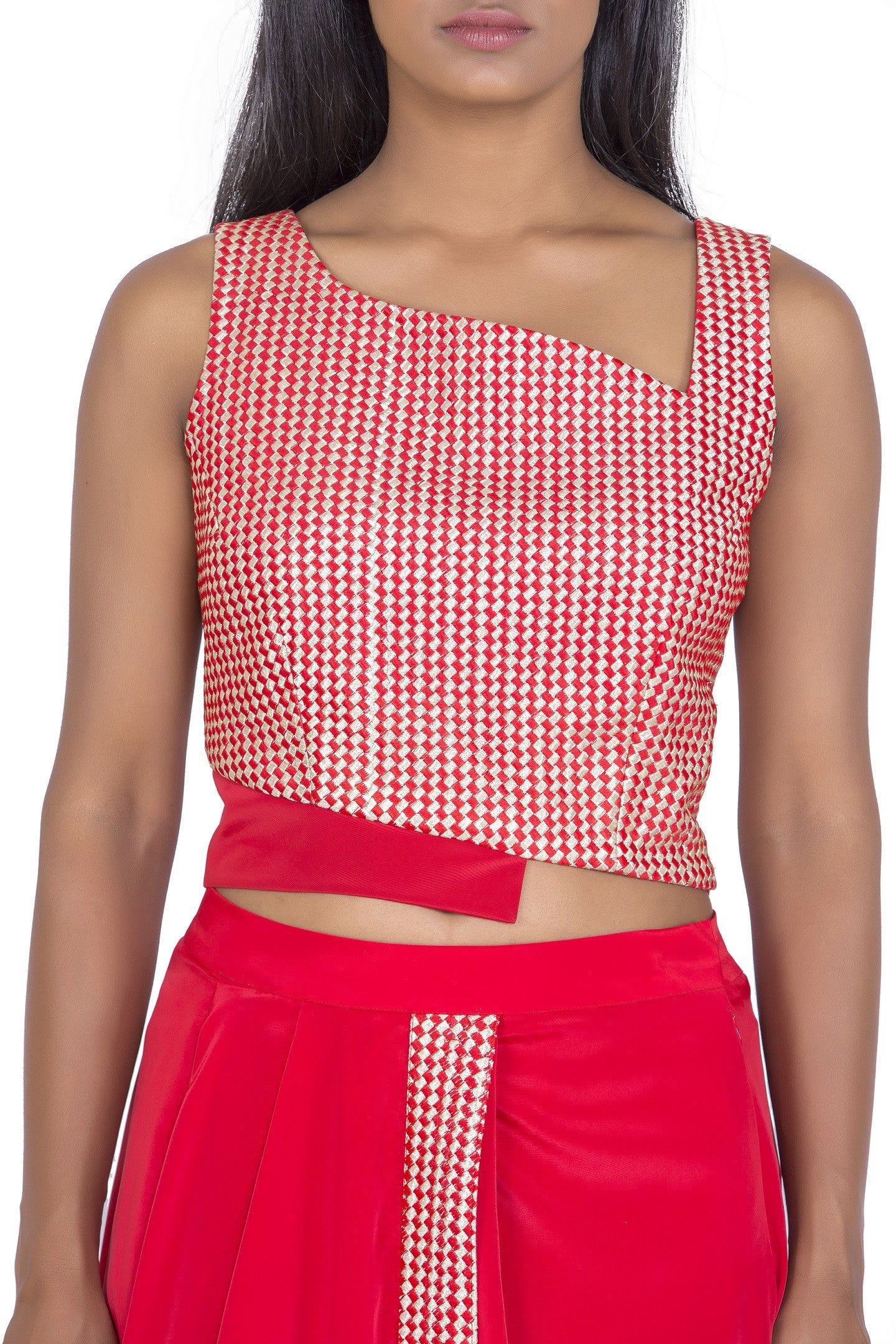 972df9e54d Red cropped blouse with dhoti skirt - THE ATTIC GRAY