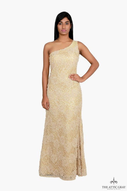 Gold one shoulder gown