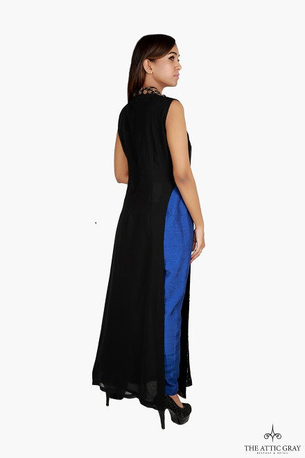 Black sleeveless kurta with blue trousers
