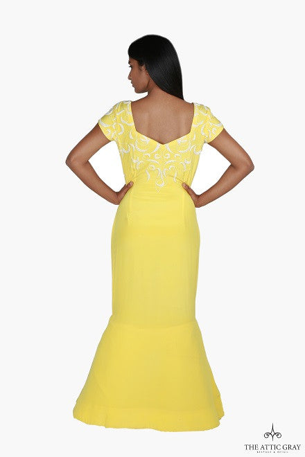 Yellow crepe hand embroidered mermaid gown