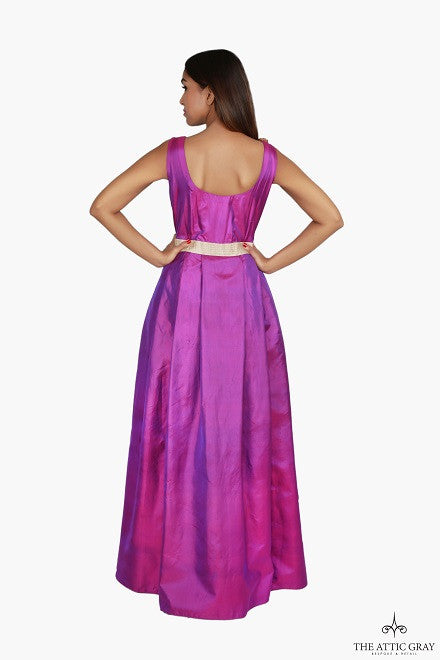 Purple silk up gown with hand embroidery