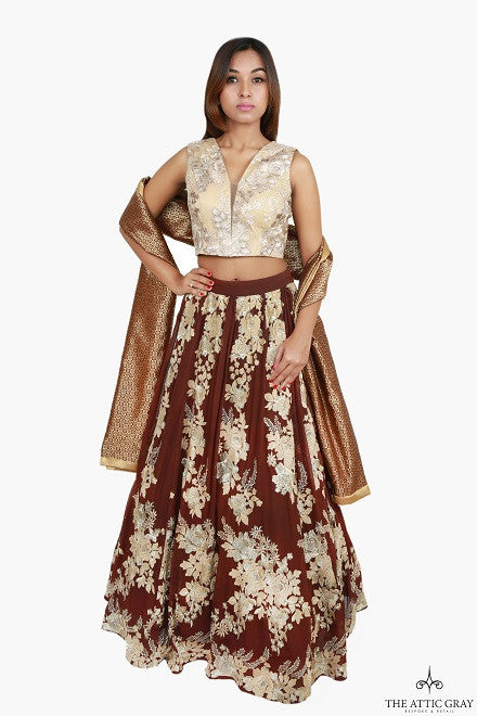 Gold embroidered crop top with Brown applique work skirt