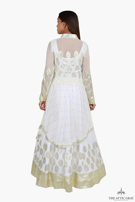 White and gold layered anarkali dress