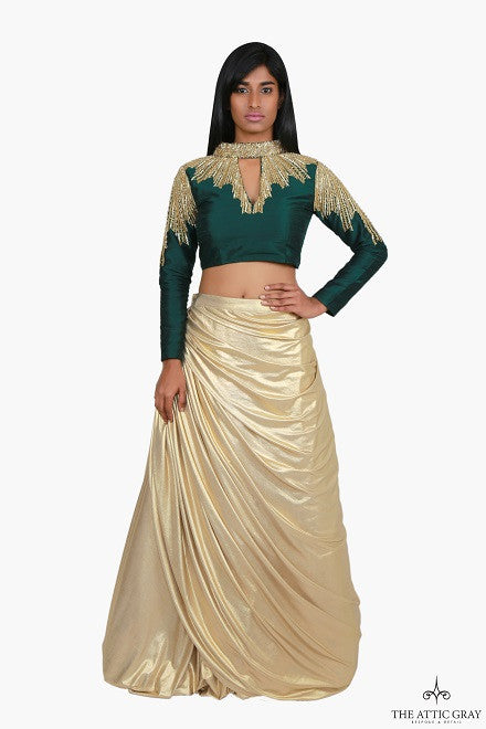 Emerald green raw silk hand embroidered blouse with gold skirt