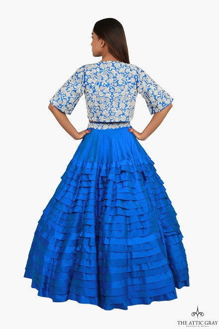 Blue raw silk cropped hand embroidered jacket, blouse and layered skirt