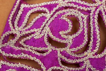 Purple and pink hand embroidered lengha set