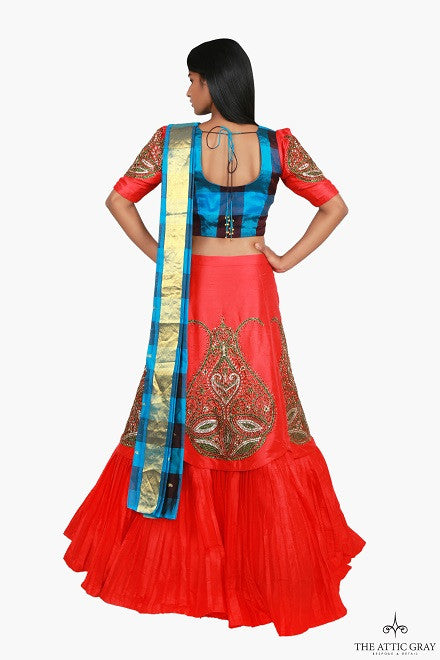 Red and blue lengha set with attached dupatta