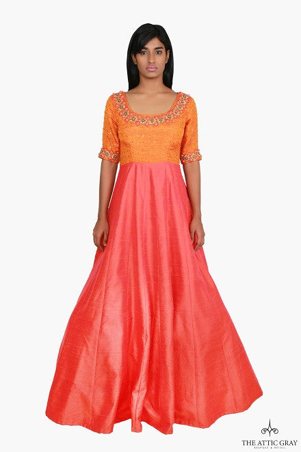 Orange and peach silk hand embroidered anarkali