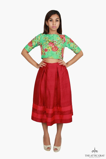 Floral crop top with high waist skirt