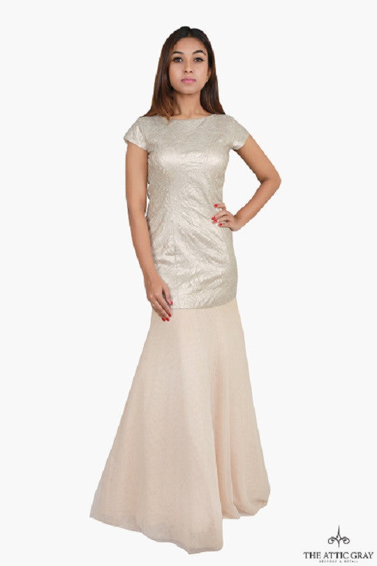 Cream gold cap sleeve mermaid gown