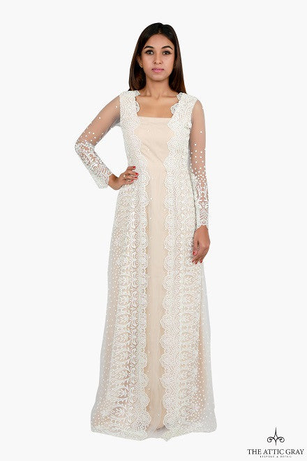 Cream embroidered sheer back gown