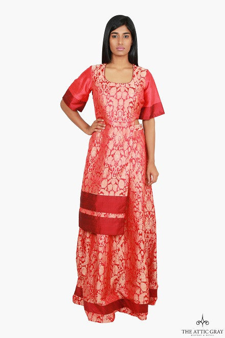 Red brocade bell sleeve asymmetrical kurta with skirt