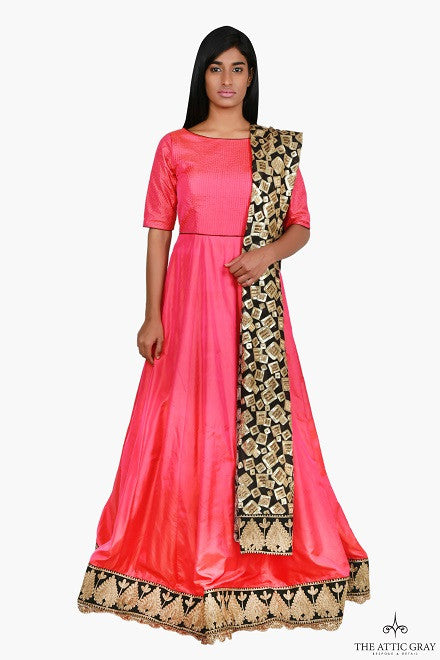 Pink anarkali with black and gold dupatta