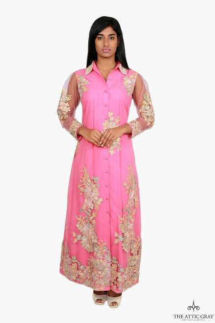 Pink full length shirt dress with embroidery