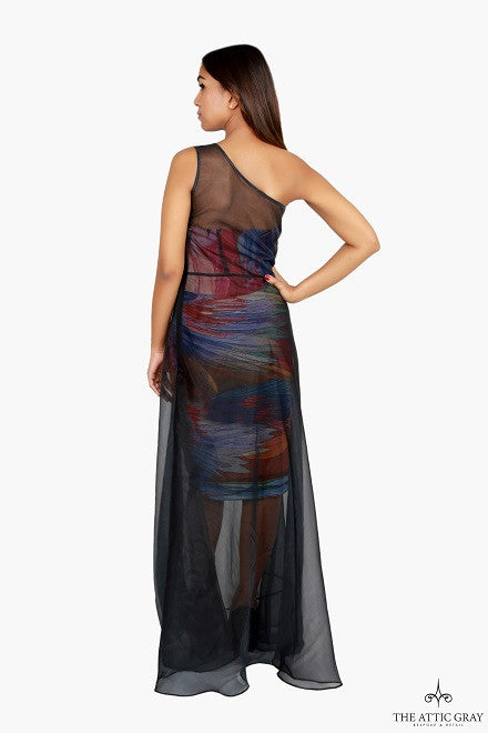 Black sheer one shoulder gown with printed short dress