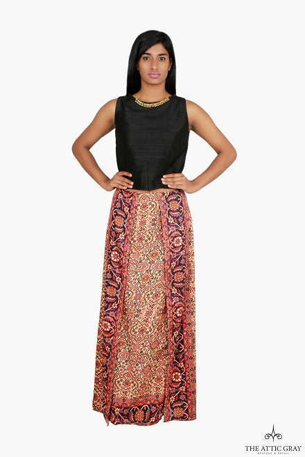 Black raw silk top with pashmina silk skirt