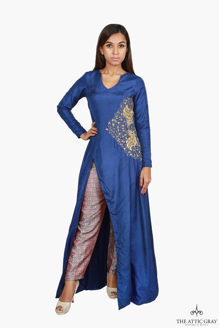 Flared long slit kurta with brocade trousers