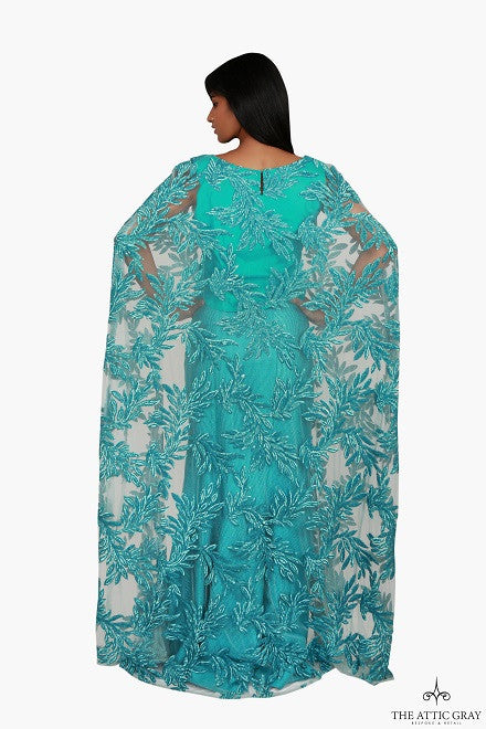 Embroidered Cape Top with Mermaid Skirt