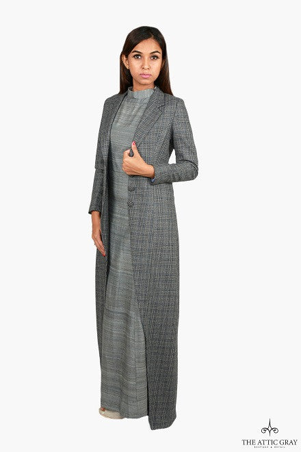 Grey wool full length coat
