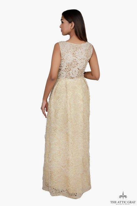 Gold sleeveless flared gown