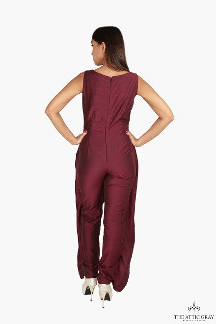 Purple sleeveless jumpsuit