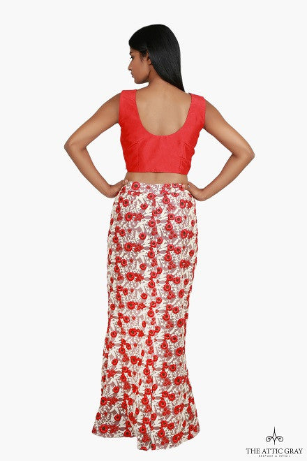 Red silk crop top with red and cream mermaid skirt