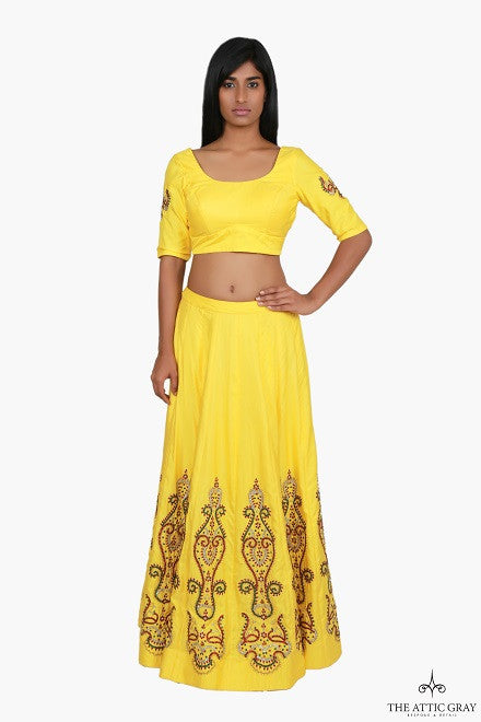 Yellow lengha set with hand embroidery