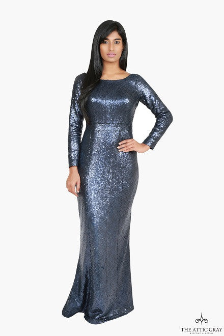 Navy Sequins Mermaid Gown