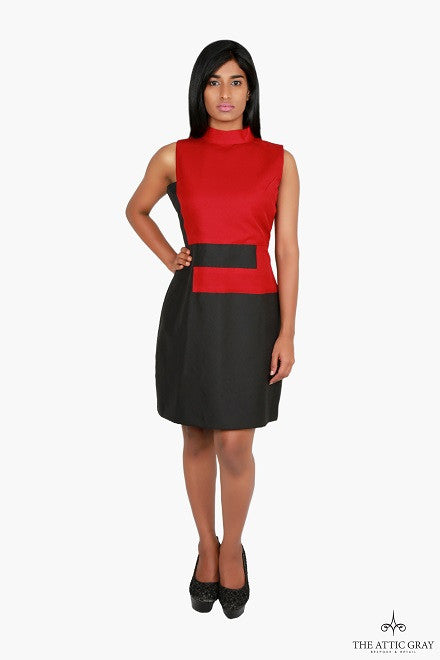 Red and black colour block dress