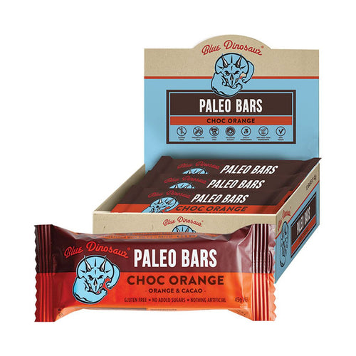 Blue Dinosaur Paleo Bars - Choc Orange (12 x 45g Bars)