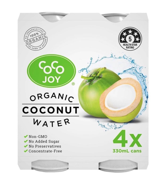 Organic Coconut Water 330ml Can - 4 Pack by Coco Joy